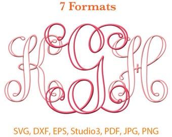 Interlocking Applique Monogram Font SVG ( Studio 3 / dfx / eps / png / jpg / pdf) Silhouette Studio,SVG files for cricut,Silhouete Cameo