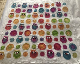 owl baby blanket crochet ready to ship