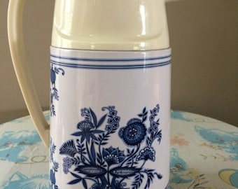 Vintage Floral Pitcher white blue plastic and tin