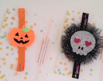 halloween,Skull headband,skull glitter headband,halloween headband,skull headbadn ,pumpkin headband,Neon glitter pumpkin
