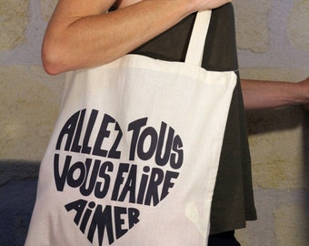 "Tote bag off-white, ""Come on all do you love"" anthracite"