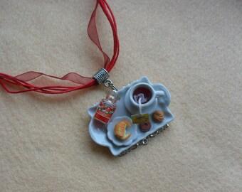 Miniature porcelain dollshouse fimo breakfast organza necklace