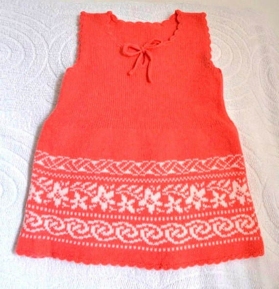 Baby dress knit coral pink Handmade  hand knitted girls dress Ready to Ship childrens handmade