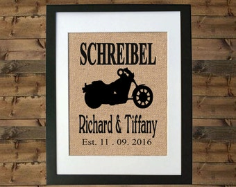 Personalized Motorcycle Gift - Motorcycle Wedding Gift - Motorcycle Wedding Decor - Harley Davidson Decor - Motorcycle Decor - Burlap Print