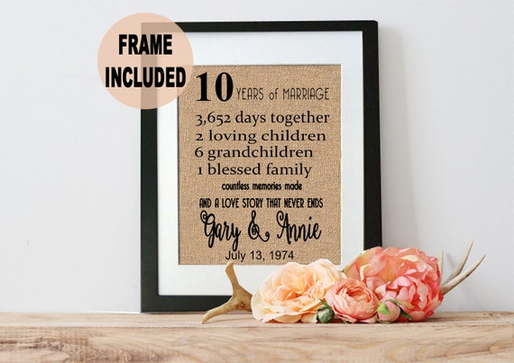 What Is The Gift For 16 Year Wedding Anniversary: Anniversary Gift 10 Years Of Marriage Gift For The Couple