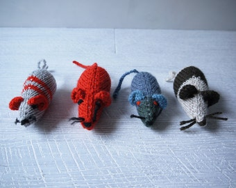 Cute Hand Knitted Toy Mice - Set Of 4