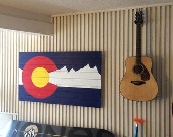 Colorado Mountains Flag Wood Art