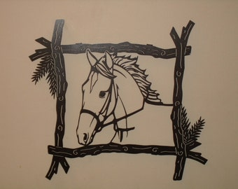 "Horse in Branch Frame, 24"" x 21"""