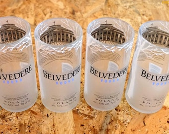 Set of Belvedere Vodka Glasses / Tumblers- Made From Recycled Bottles