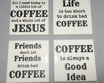 Set of 4 Ceramic Tile Coasters Jesus and Coffee