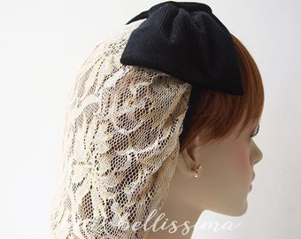 SALE black and Ivory 1940's  snood Women's hat hatbellissima