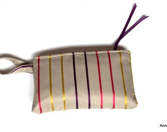 Kit in quilted makeup - fabric striped violet-pink-gold