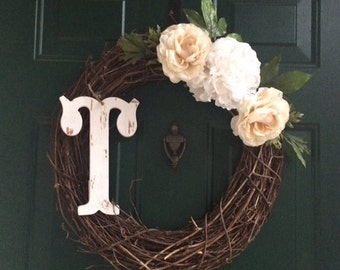 Grapevine Wreath with Flowers and Letter