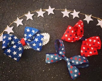 Variety pack of PATRIOTIC hair bows!