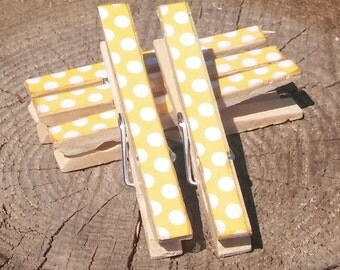 Yellow White Polka Dot Clothespin Magnets Clips Set of 5