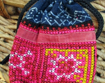 Ethnic Clutch, Purse, Pouch, Wallet, Small Bag, Handmade Bohemian bag, Thai Clutch, Cotton, Pink & Blue Hmong fabric