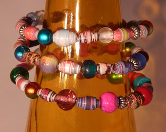 Glass and Paper Bead Memory Wire Bracelet
