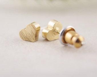 Cute 18k Gold Filled Solid Heart Earrings