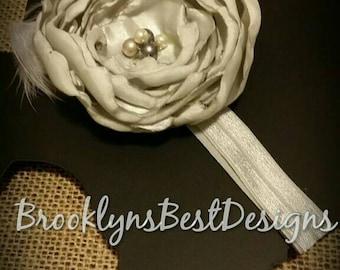 Light Grey Silk Flower headband