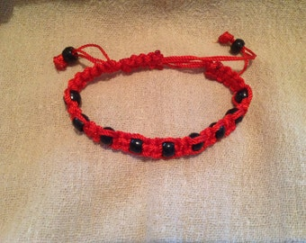 Red Square Knot Macrame Bracelet with Black Beads