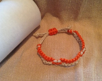 Orange and Cream Square Knot Split Design Macrame Bracelet