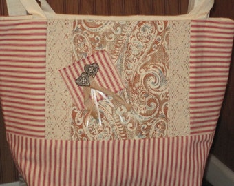 Burlap Tote Bag, Mattress Ticking Tote Bag, Printed Burlap Bag