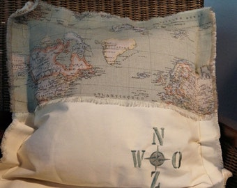 World map pillow ecru/Gale-grey