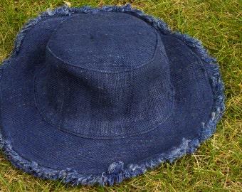Hat Sun Hemp Pure Organic Blue Lightweight Brim Flexible Fashion Stylish