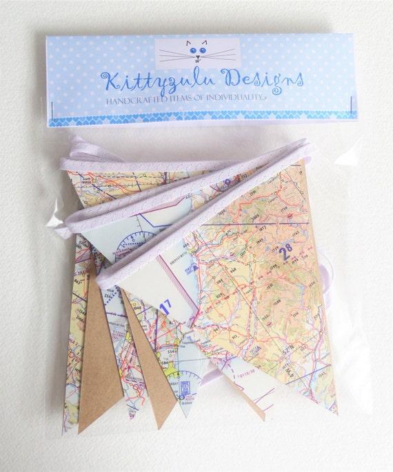 Aeronautical map bunting, Flying themed bunting