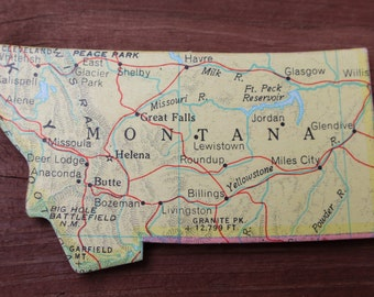 Montana State Magnet Vintage Puzzle Piece Rand McNally Map