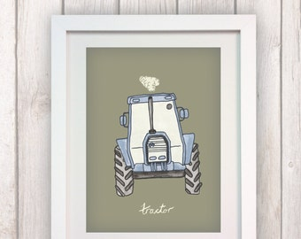 Blue Tractor A3 Art Print