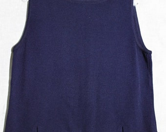 Navy Shell.  St John Knits.  Buttons Down the Back.