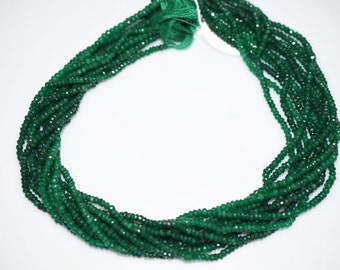 """Natural Dyed Emerald Rondelle Beads 16"""" Strand ,Dyed Emerald Faceted Rondelle Beads , 3.50 mm - MC070"""