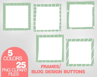 Clip Art Frames, Blog Design Buttons, Web Buttons Clipart, Scrapbook Frames,  Instant Download