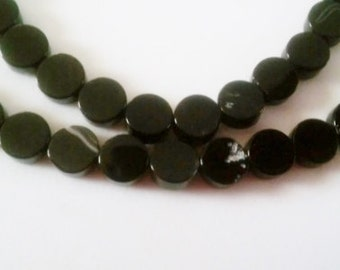 SALE! Onyx beads 8mm coin beads 8mm stone beads black stone beads semiprecious stone semiprecious beads onyx black onyx black onyx beads