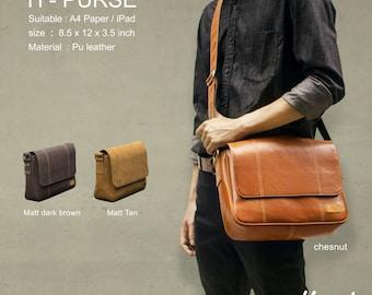 Hazel Design Messenger Shoulder Bag for Men Woman Vintage Retro Briefcase