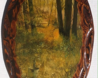 Vintage Wooden Hand Made Picture, 17 x 11 inches, Thick High Gloss Finish, Thick Epoxy Coating, Hard Finish, A Pail Hanging by the Trail