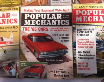 11 Vintage 1964 Popular Mechanics Magazines, Muscle Cars, Boats, Airplanes, Electronics, Cool Old Ads, Fun Bathroom Reading Material Books