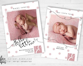 Photoshop birth announcement template - instant download, Newborn template, baby girl