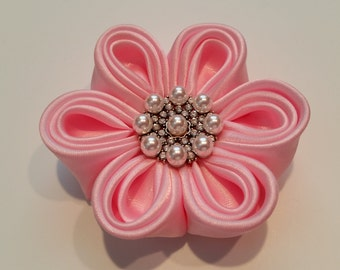 Pink Satin Fabric Headband, Kanzashi Flower, Hair bow