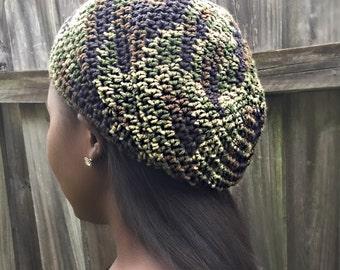crochet camo rasta hat or slouchy hat.