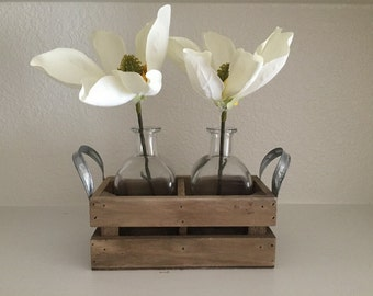 Magnolia flower display, Flowers in jars, Jar caddy, Farmhouse decor, Table centerpiece