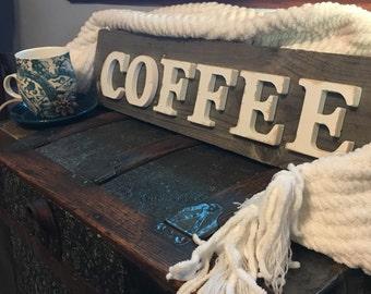 COFFEE sign- simple, rustic & reclaimed wood