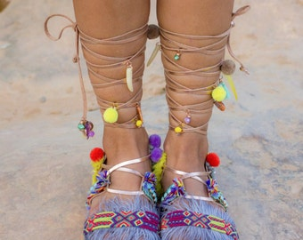 "Lace Up Sandals, Boho Sandals, Friendship Bracelets, Rose Gold Leather Sandals, Colorful Summer Flats, ""Amazon"""