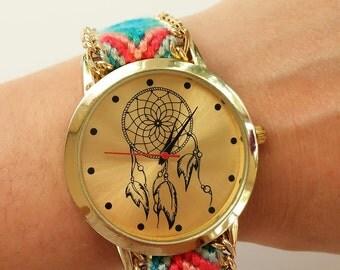 Watch Boho-Dreamcatcher - Boho watches-watch strap-woven - summer accesories watches-hippie - boho watches golden -