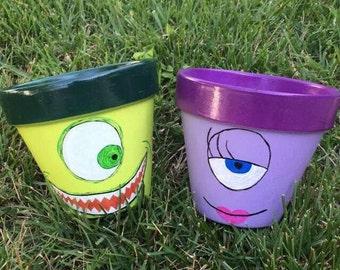 set of monsters inc flower pots