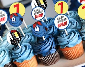 Superhero Superboy Cupcake Toppers