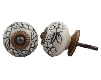 Round Cream with Black Flowers Draw Knob with beadwork /Drawer Pulls / Dresser Knobs / Wardrobe  Handles