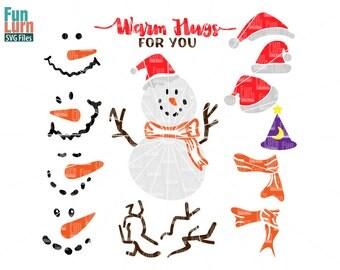 Snowman Faces SVG, Build a Snowman svg,Warm hugs,Santa hats, sticks, pebbles,snowman faces,scarf,svg png dxf eps ,Cameo file, Cricut file