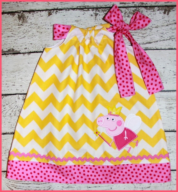 Pretty Peppa Fairy  Pillowcase style dress Yellow chevron and Hot Pink polka dot
